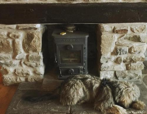 wood burner in the old schoolroom
