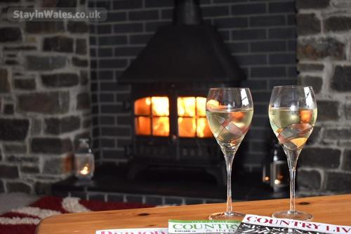 wine by the woodburner