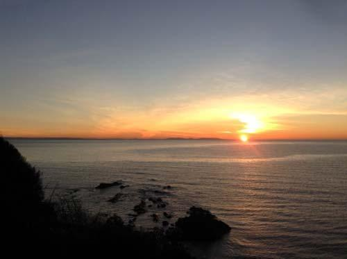 sunset over amroth bay