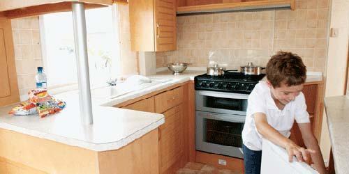Bronze caravan kitchen