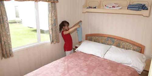 Silver caravan bedroom