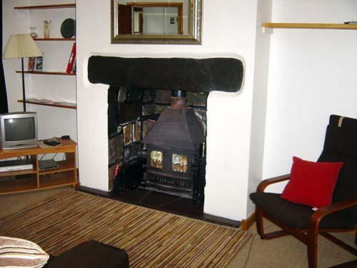living room with log burner