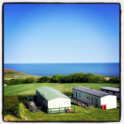 Holiday caravans at Mwnt, West Wales