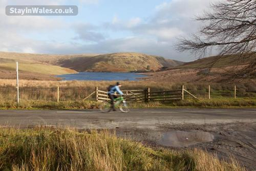 mountain biker in the elan valley