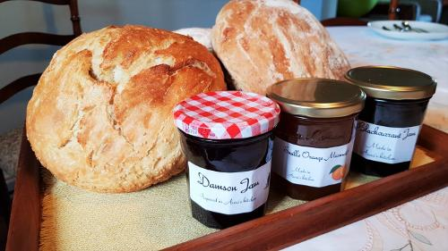 Homemade bread and preserves