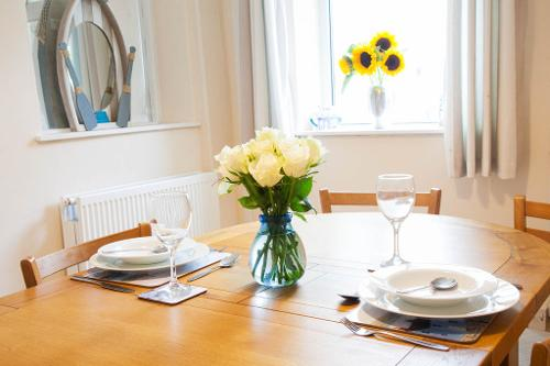 Dinner for two in the light and airy dining room