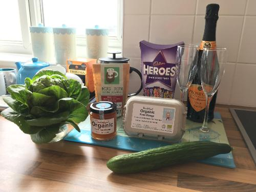 Our organic produce in the generous welcome pack