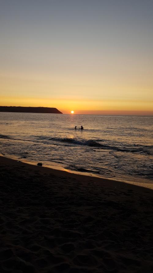 Sunset at Penbryn beach