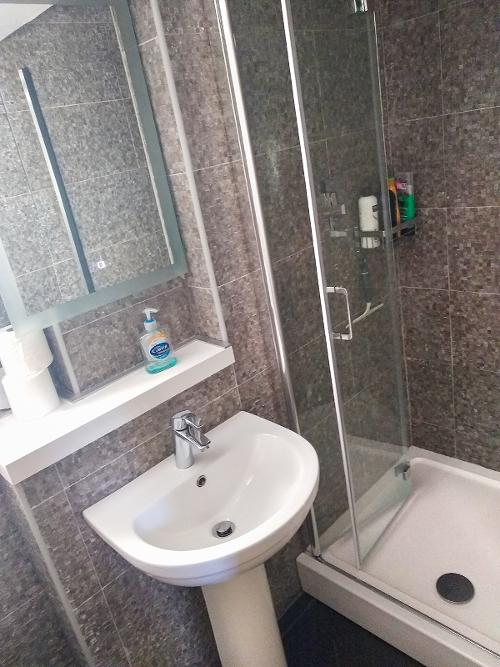 Large shower enclosure, WC and basin