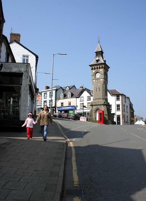 Clock tower in Knighton, Powys