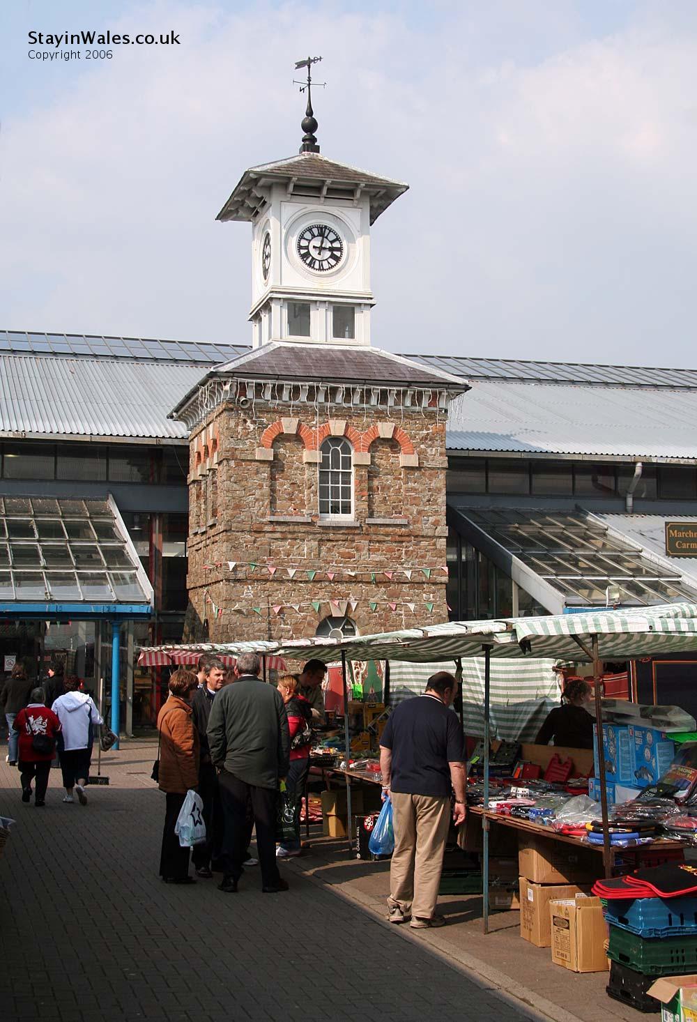 Carmarthen outdoor market in St Catherine Street