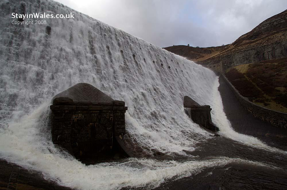 Stormy day at Caban Coch dam in the Elan Valley