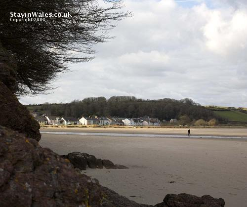 The Green and beach at Llansteffan