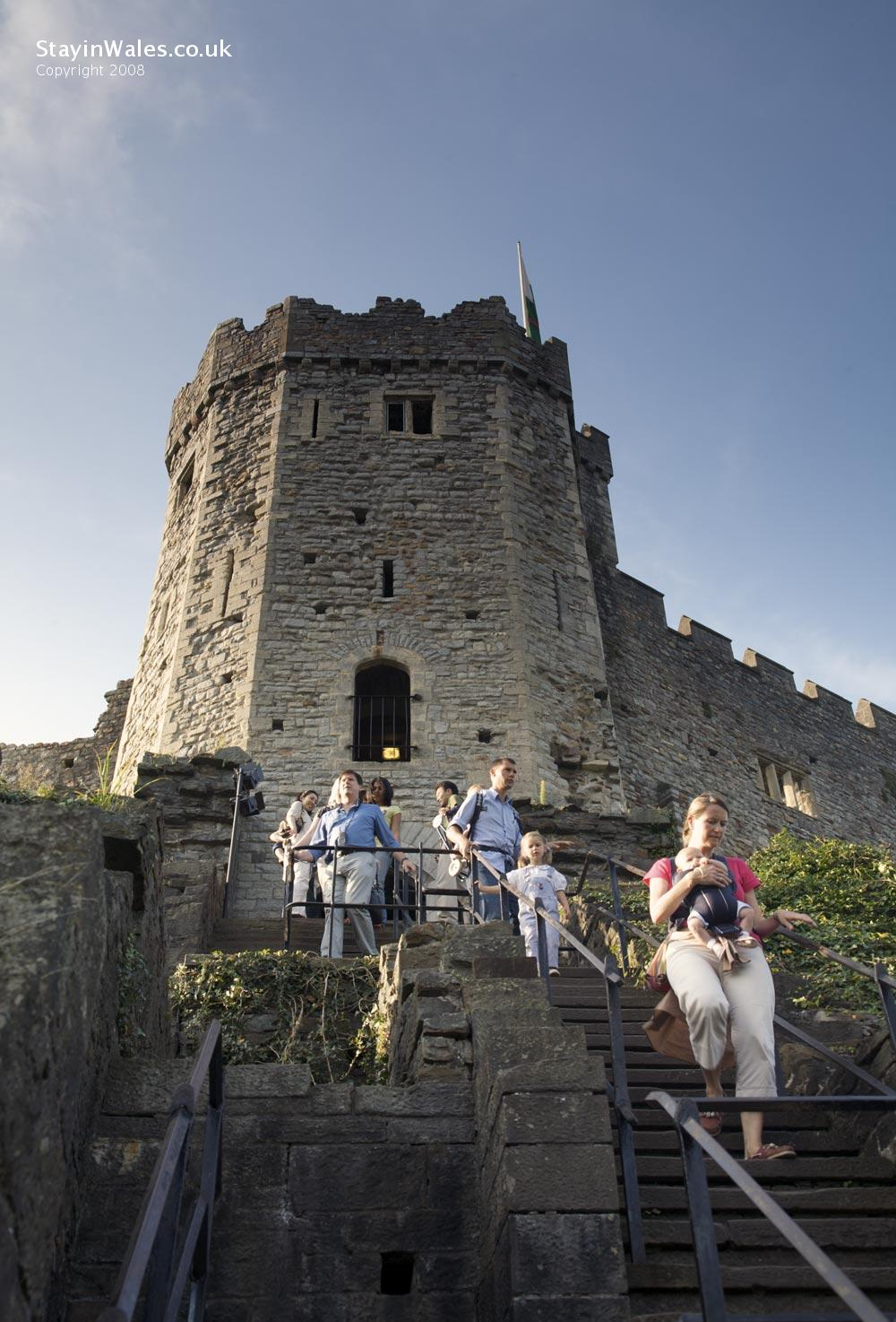 Visitors descend the Great Keep of Cardiff Castle