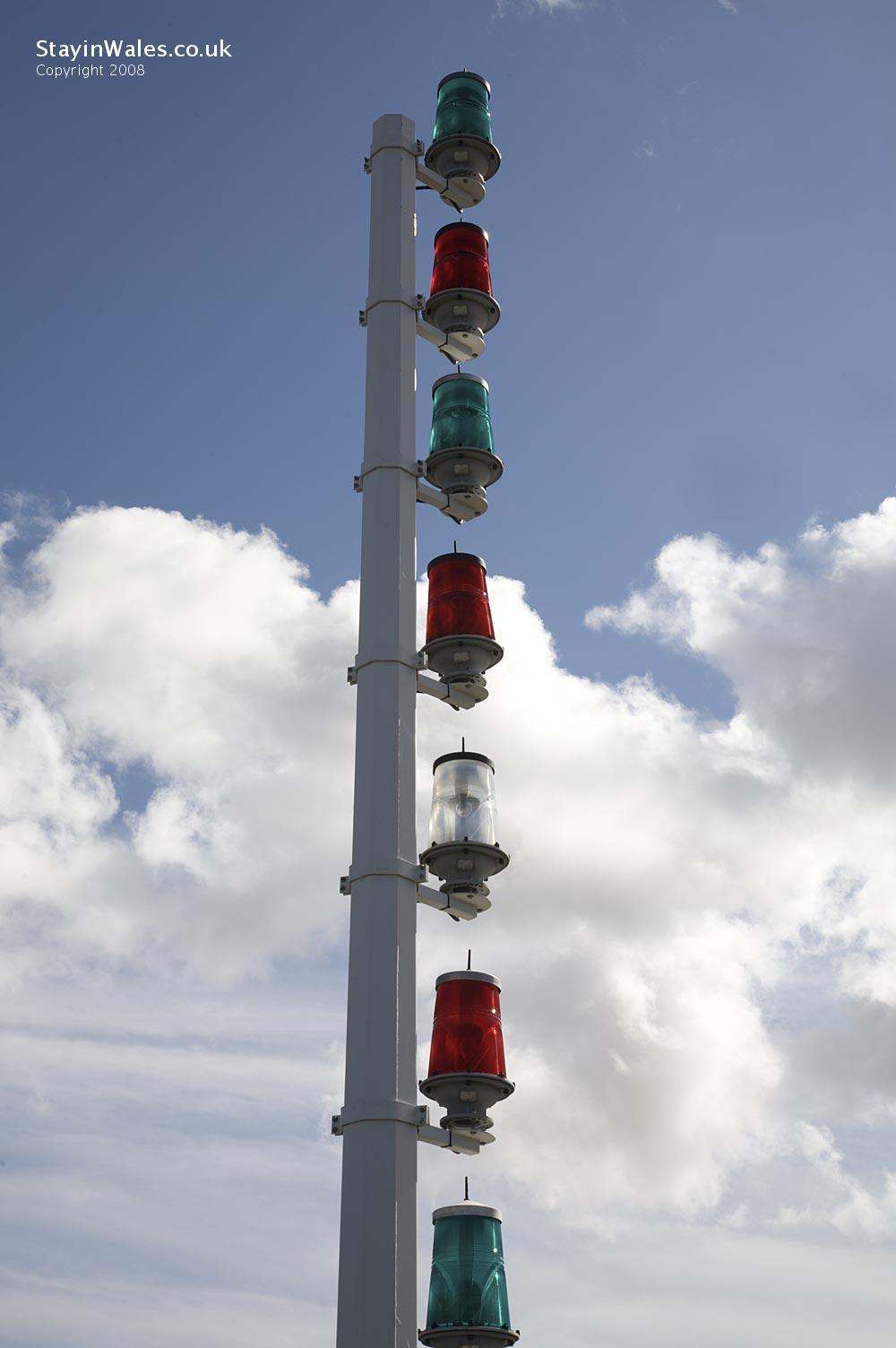 Marker lights on Cardiff Barrage Breakwater