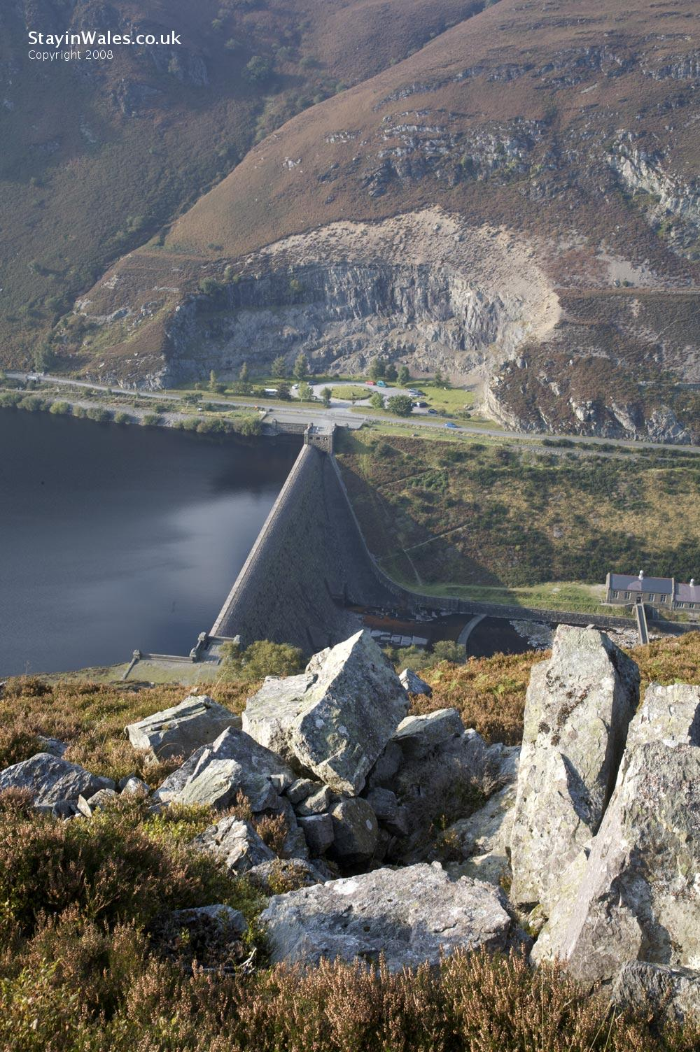 View over Caban Coch dam