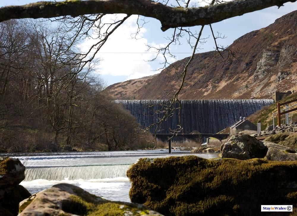 Early Spring view of Caban Coch dam