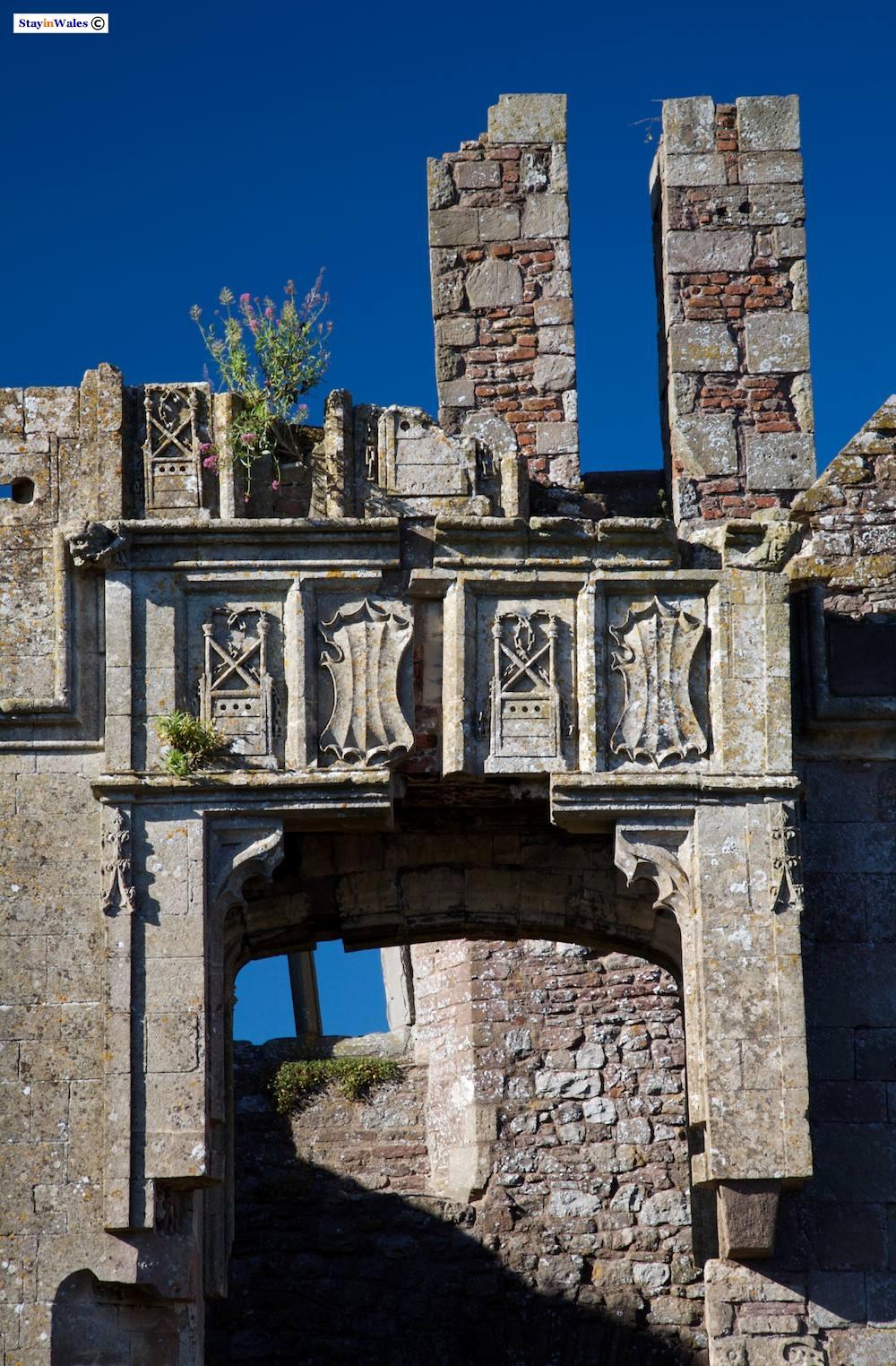 Carved badges and shiled at Raglan Castle