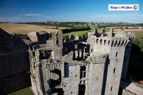Raglan Castle gatehouse seen from the Great Tower.