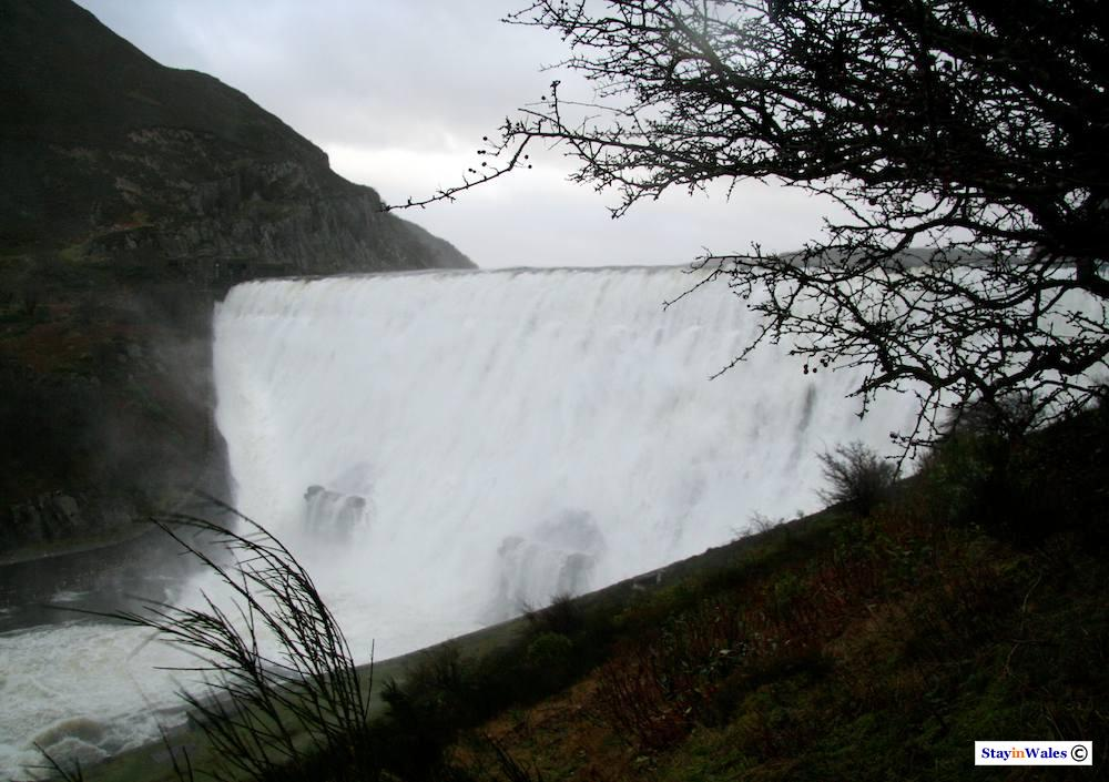 Caban Coch dam on a stormy day