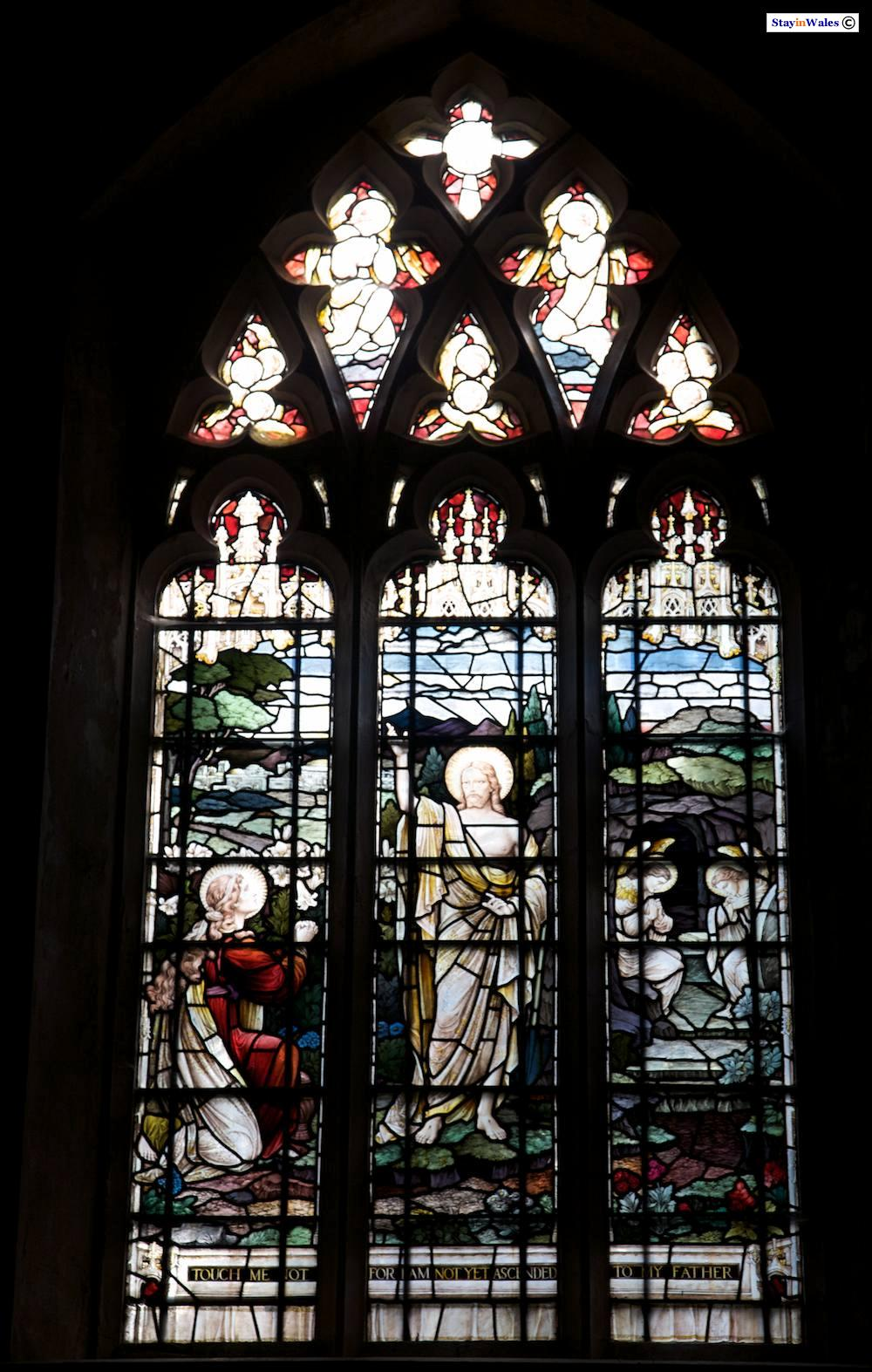 Stained glass church window, Hafod Estate