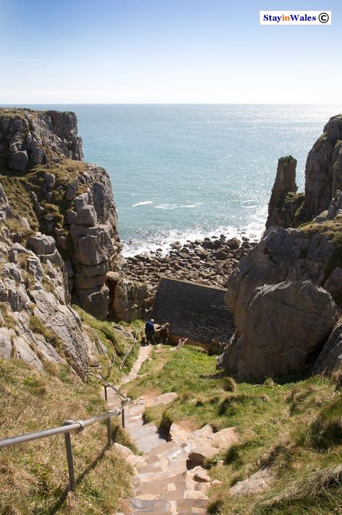 Steps leading to St Govan's Chapel, Pembrokeshire