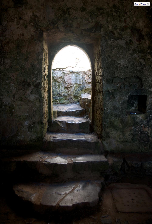 Steps inside St Govan's Chapel