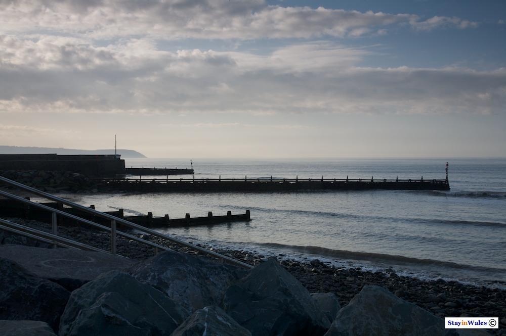 Aberaeron harbour and coast