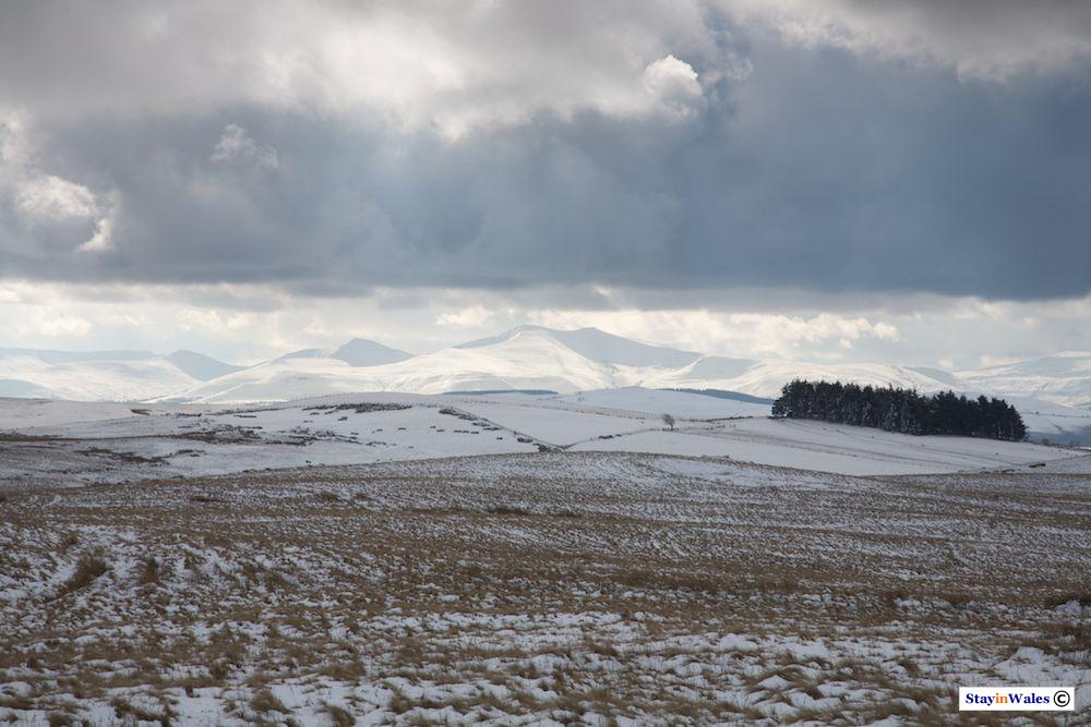 Snow on the Brecon Beacons from the Eppynt