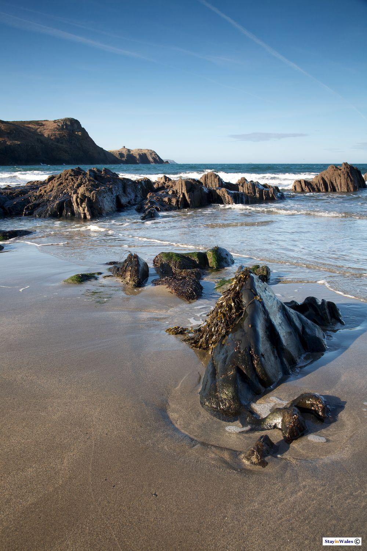 Receding tide at Traeth Llyfn beach