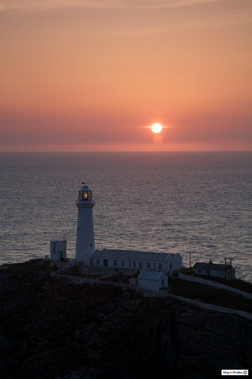 South Stack lighthouse spring sunset