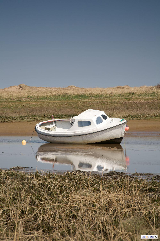 Boat moored at Aberffraw
