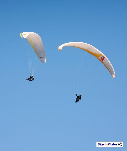 Paragliders over Dinorwig and Elidir Mountain