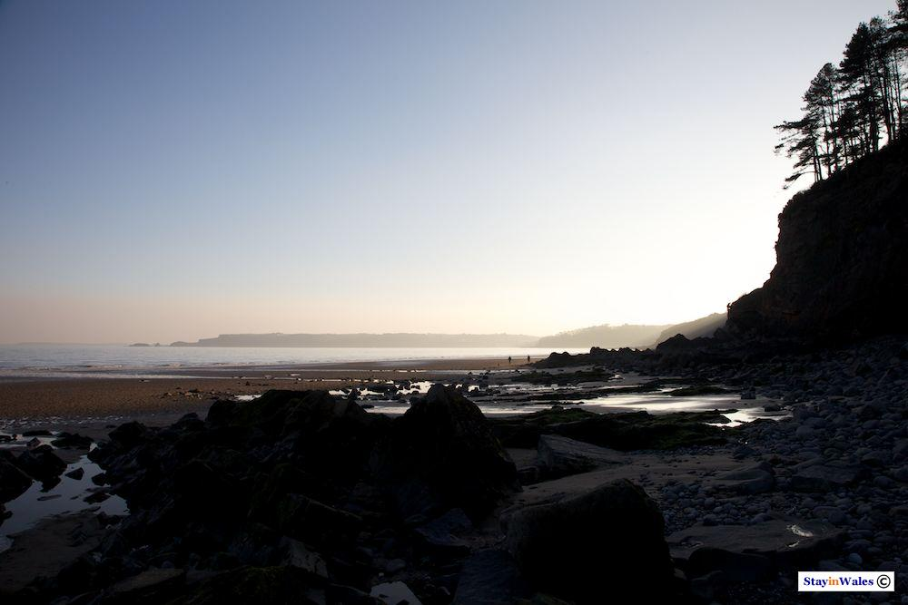 Amroth beach and Monkstone Point