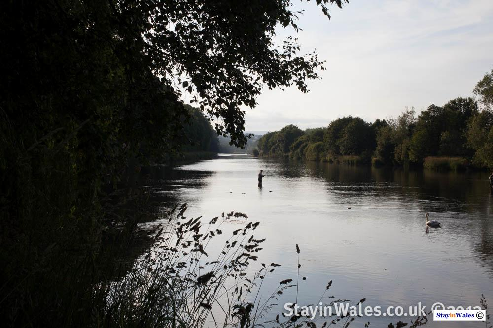 Fly fishing on the Wye at Builth