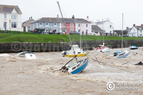 Flooded River Aeron, Storm Callum at Aberaeron